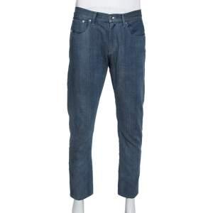 Giorgio Armani Blue Denim Tapered Leg Jeans L