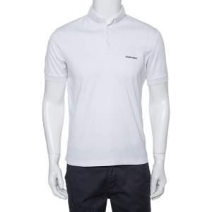 Giorgio Armani White Cotton Stand Collar T-Shirt S