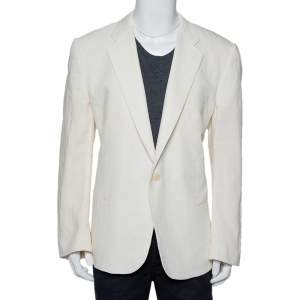 Giorgio Armani Cream Fiber & Silk Button Front Blazer 5XL
