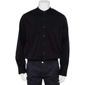 Giorgio Armani Black Cotton Stand Collar button Front Shirt XXL
