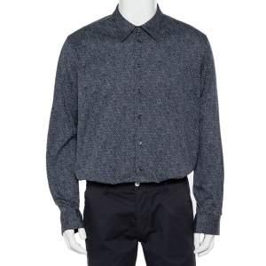 قميص جورجيو أرماني قطن أزرق كحلي مقاس 4 إكس لارج - 4 كبير جدًا