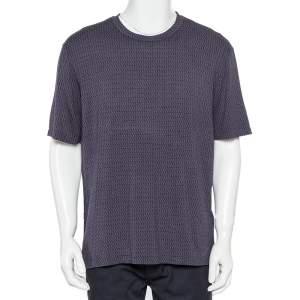 Giorgio Armani Navy Blue Patterned Knit Crewneck T-Shirt XXL