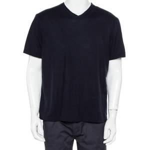 Giorgio Armani Midnight Blue Knit V-Neck T-Shirt 4XL