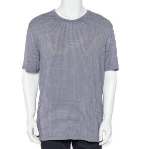 Giorgio Armani Navy Blue Patterned Knit Crewneck T-Shirt 4XL
