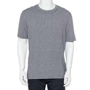 Giorgio Armani Grey Patterned Knit Crewneck T-Shirt XXL