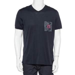 Giorgio Armani Navy Blue Patch Pocket Detail V-Neck T-Shirt 3XL