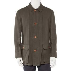 Giorgio Armani Olive Green Linen Button Front Blazer L
