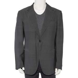 Giorgio Armani Charcoal Grey Patterned Wool Button Front Blazer 3XL