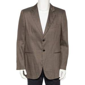 Giorgio Armani Beige Patterned Linen & Silk Button Front Blazer XL