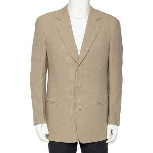Giorgio Armani Vintage Cream Patterned Wool Button Front Blazer M