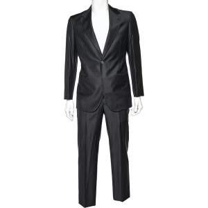 Giorgio Armani Black Striped Wool Super 160's Suit M