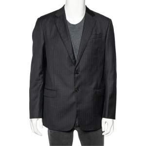 Giorgio Armani Charcoal Grey Striped Wool Single Breasted Soft Fit Blazer XL