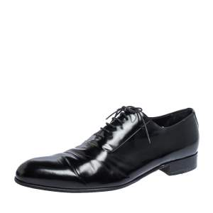 Giorgio Armani Black Textured Leather Lace Up Oxfords Size 44