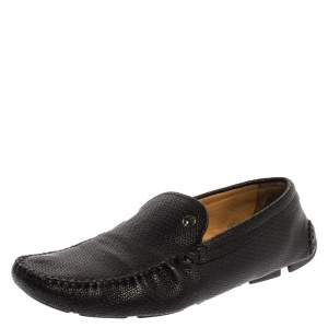 Giorgio Armani Black Embossed Leather Slip On Loafers Size 44