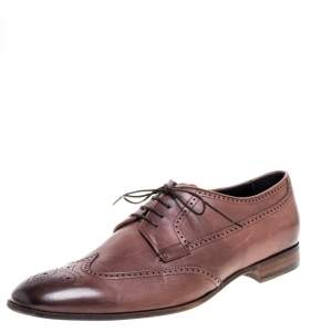 Giorgio Armani Brown Brogue Leather Lace Up Derby Size 45