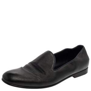 Giorgio Armani Black Leather Smoking Slippers Size 45