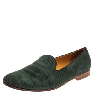 Giorgio Armani Dark Green Nubuck  Smoking Slipper Loafers Size 45