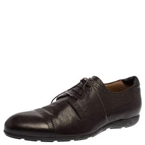 Giorgio Armani Brown Leather Lace UP Oxfords Size 44