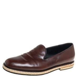 Giorgio Armani Brown Leather Slip On Espadrilles Size 42.5