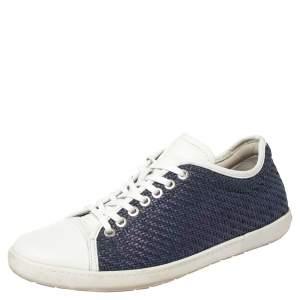 حذاء رياضي جورجيو أرماني جلد أزرق بعنق منخفض مقاس 41.5