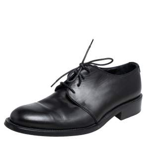Giorgio Armani Black Brushed Leather Lace Up Derby Size 41