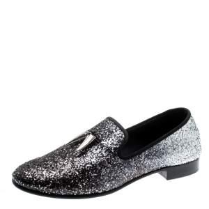 Giuseppe Zanotti Metallic Black/Silver Coarse Glitter Kevin Shark Tooth Tassel Smoking Slippers Size 40