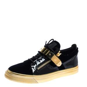 Giuseppe Zanotti Black/Gold Velvet and Leather Coby High Top Sneakers