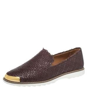 Giuseppe Zanotti Brown Woven Leather Slip On Sneakers Size 46