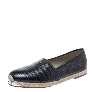 Giuseppe Zanotti Black Croc Embossed Leather Espadrille Flats Size 44