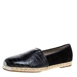 Giuseppe Zanotti Black Croc Embossed Leather and Suede Espadrille Flats Size 45