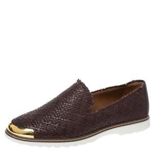Giuseppe Zanotti Dark Brown Woven Leather Kevin Slip On Sneakers Size 44