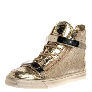 Giuseppe Zanotti Metallic Gold Python Embossed Leather Coby High Top Sneakers Size 41