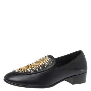 Giuseppe Zanotti Black Studded Leather Slip On Loafers Size 41
