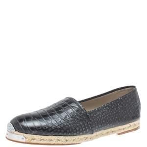 Giuseppe Zanotti Black Croc Embossed Leather Espadrille Slip On Loafers Size 45