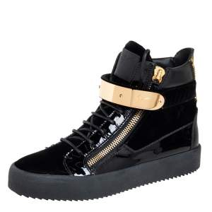 Giuseppe Zanotti Black Velvet And Patent Leather Coby High Top Sneakers Size 40