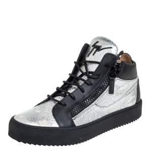 Giuseppe Zanotti Black/Silver Leather High Top Sneakers Size 40
