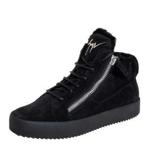 Giuseppe Zanotti Black Suede And Fur High Top Sneakers Size 40