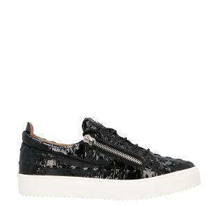 Giuseppe Zanotti Black Patent leather side-zip Sneakers Size EU 42