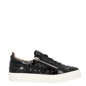 Giuseppe Zanotti Black Patent Leather Frankie Sneakers Size EU 45