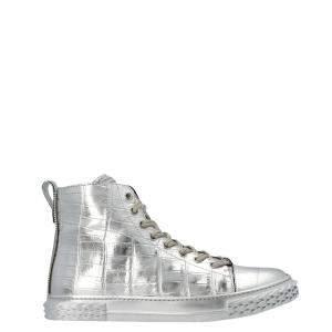 Giuseppe Zanotti Silver Crocodile Print Leather Blabber High Top Sneakers Size EU 42