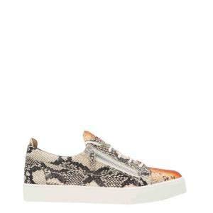Giuseppe Zanotti Brown Python-print Leather Frankie Sneakers Size EU 44