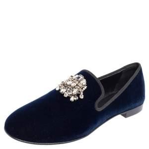 Giuseppe Zanotti Midnight Blue Velvet Kevin Smoking Slippers Size 42.5