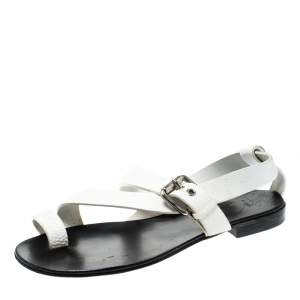 Giuseppe Zanotti White Leather Toe Ring Cross Strap Sandals Size 43
