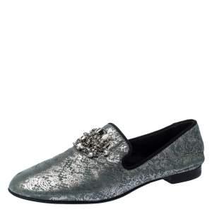 Giuseppe Zanotti Metallic Grey/Light Green Crystal Embellished Slip On Loafers Size 44