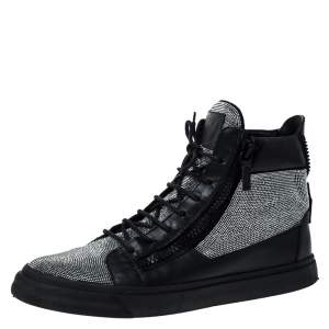 Giuseppe Zanotti Black Leather and Crystal Embellished High Top Sneakers Size 45