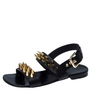 Giuseppe Zanotti Black Leather Zak Spike Flat Sandals Size 40