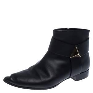 Giuseppe Zanotti Black Leather Pyramid Stud Ankle Boots Size 41.5