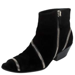 Giuseppe Zanotti Black Suede Ankle Boots Size 42