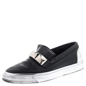Giuseppe Zanotti Black Studded Leather Skate Slip On Sneakers Size 41