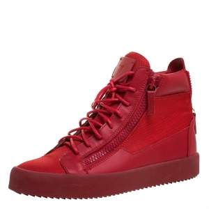 Giuseppe Zanotti Red Canvas and Leather London High Top Sneakers Size 43.5